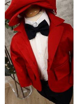 Costum baietei botez lux rosu