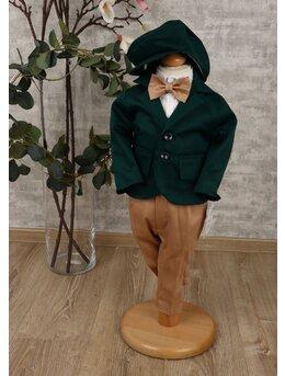 Costum baietei botez lux verde-maro