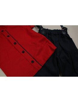 Costum baietei rosu-bleumarin
