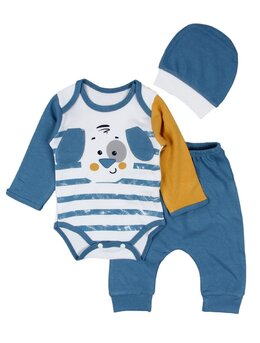 Costumas 3 piese catelus albastru pal
