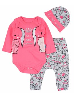 Costumas 3 piese cu doi iepurasi culoare roz aprins
