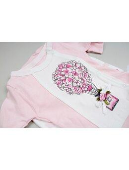 Costumas 3 piese floricele roz