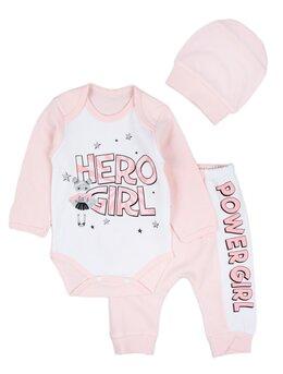Costumas 3 piese HERO GIRL roz