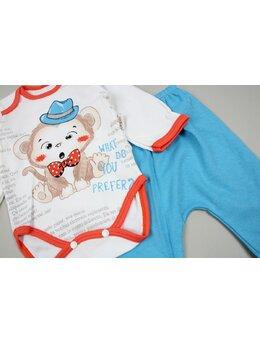 Costumas 3 piese maimutica albastru