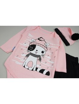 Costumas 3 piese pisicuta friguroasa roz