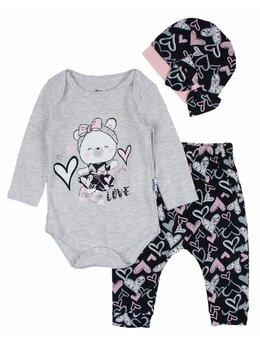 Costumas ursulica 3 piese gri-roz