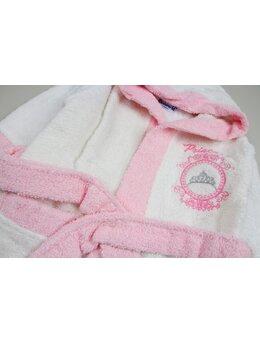 Halat de baie Princess alb-roz