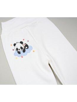 Pantalonasi alb cu banda elastica in talie