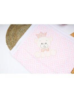 Patura crosetata roz cu ursulet