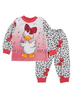 Pijama ratusca cu fundita model coral aprins