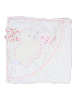 Prosop baie iepuras baby alb-roz