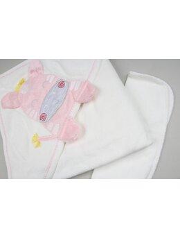 Prosop baie zebra baby alb-roz