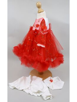 Rochita botez Sabina floricele model rosu