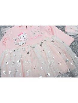 Rochita inimioare kitty cu bentita model roz pal