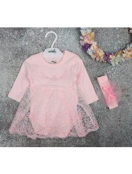 Rochita tip body cu dantela model roz