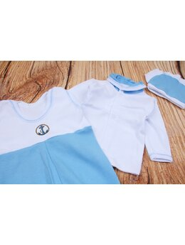 Salopeta 3 piese bebe bleu