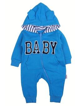 Salopeta baby cu gluga model albastru