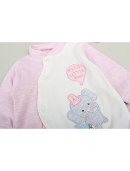 Salopeta baby elefant roz cu caciulita