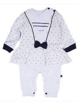 Salopeta baby marinarita alb