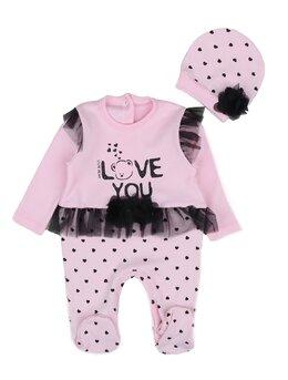 Salopeta cu caciulita LOVE model roz