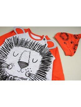 Salopeta leu cu caciulita model portocaliu pal