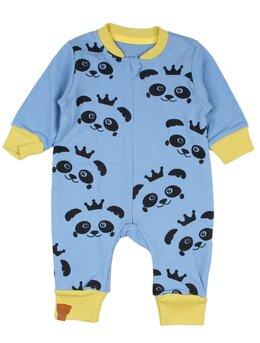 Salopeta panda albastru-galben
