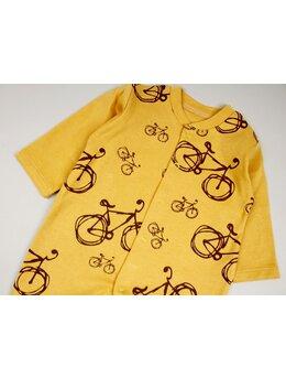 Salopetica baby biciclete model galben