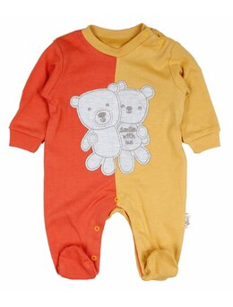 Salopetica baby ursulet model galben-portocaliu