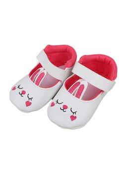 Sandale iepuraș baby alb-ciclam