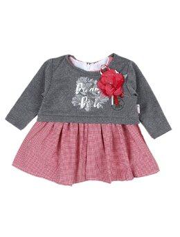Set 2 piese rochita + bluzita gri-rosu