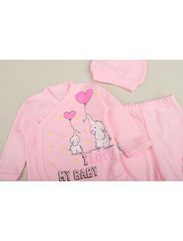 Set 5 piese elefant mama&bebe roz