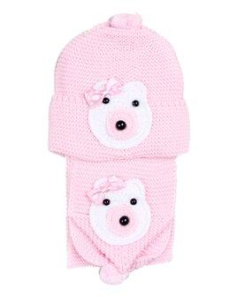 Set caciulita cu fular ursulet fetita roz