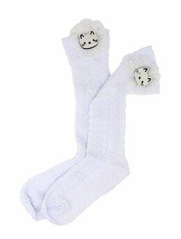 Sosetele inalte fetite pisicuta alb