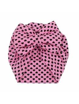 Turban roz cu inimi model 40