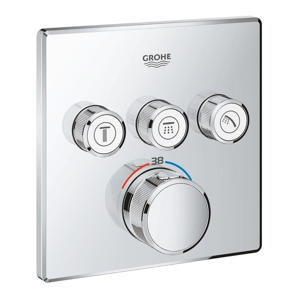 Baterie dus Grohe Grohtherm SmartControl termostatica patrata cu 3 iesiri poza