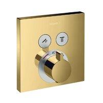 Baterie dus termostatata Hansgrohe ShowerSelect auriu lucios incastrata