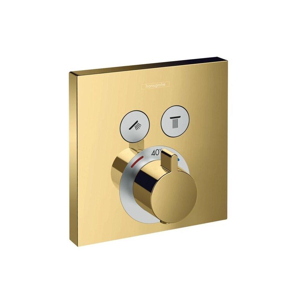 Baterie dus termostatata Hansgrohe ShowerSelect auriu lucios incastrata imagine
