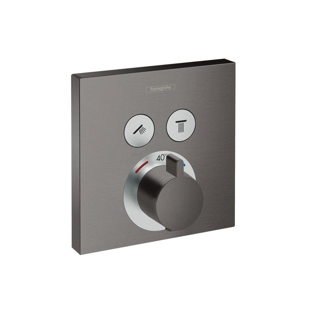 Baterie dus termostatata Hansgrohe ShowerSelect negru periat incastrata imagine