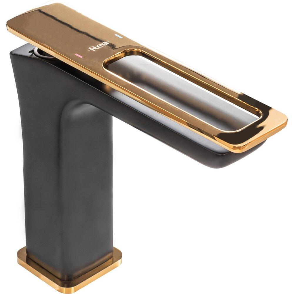 Baterie pentru lavoar Rea Soho negru mat auriu imagine