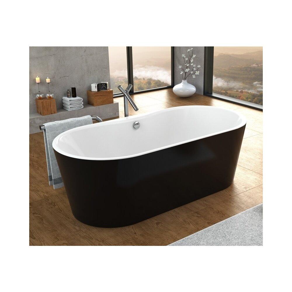 Cada freestanding Kolpasan Comodo negru si alb 185x90 cm
