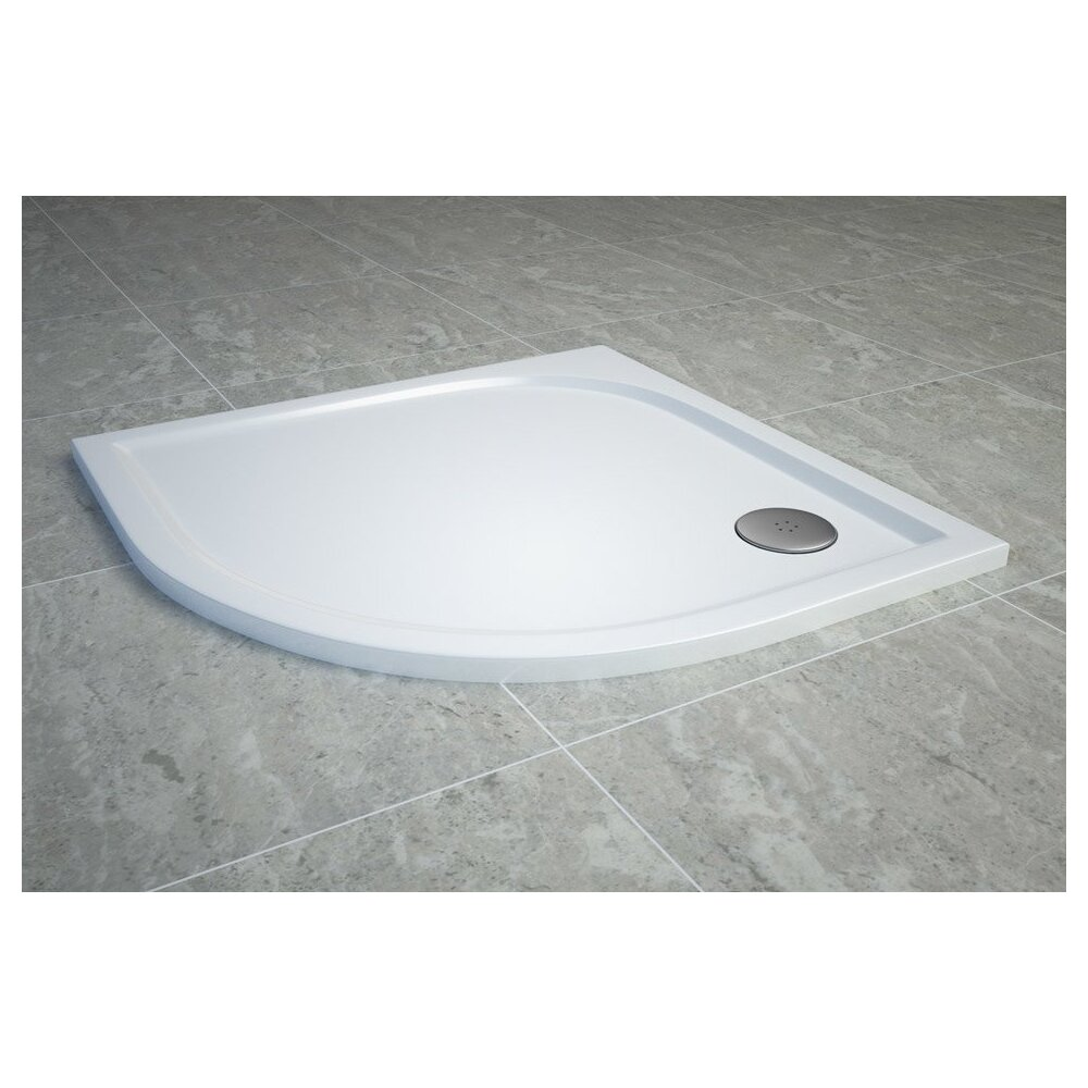 Cadita de dus semirotunda SanSwiss Tracy WAR 90x90 cm slim marmura sintetica alb poza