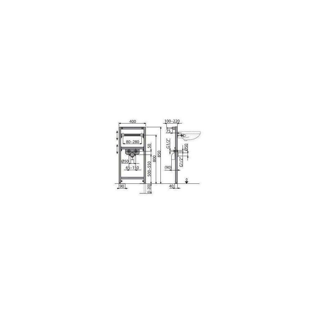 Cadru lavoar cu inaltime de instalare 0.85m Alcaplast A104/850