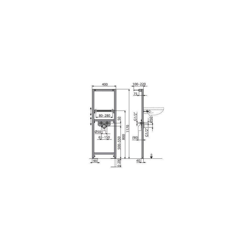 Cadru lavoar cu inaltime de instalare 1.2m Alcaplast A104/1200