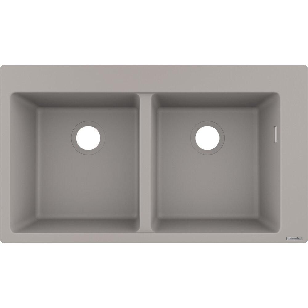 Chiuveta Hansgrohe S510 F770 SilicaTec 370x370 41.5x88x19 cm cu doua cuve concrete grey