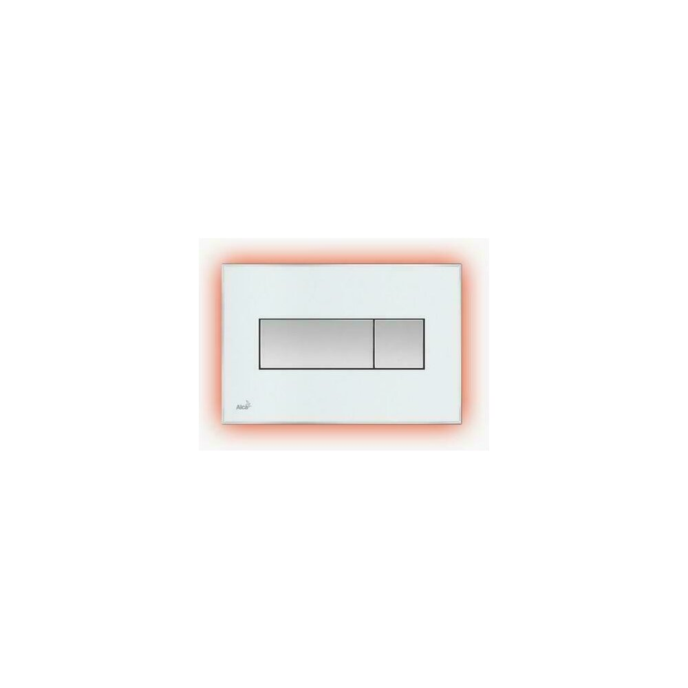 Clapeta de actionare Alcaplast pentru sistem de instalare ingropat, cu panou colorat inserat (Negru - lucios) - iluminat (Rosu) imagine