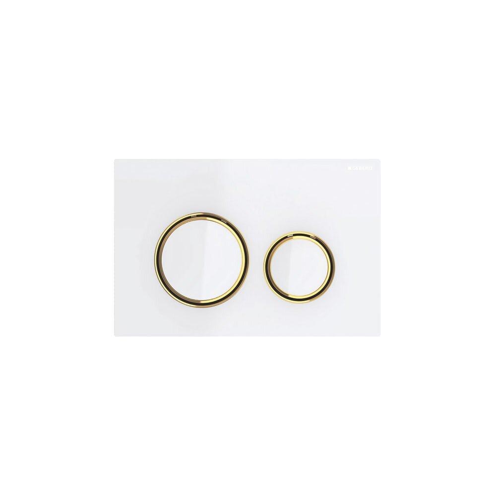 Clapeta de actionare Geberit Sigma 21 alb cu inel auriu imagine neakaisa.ro