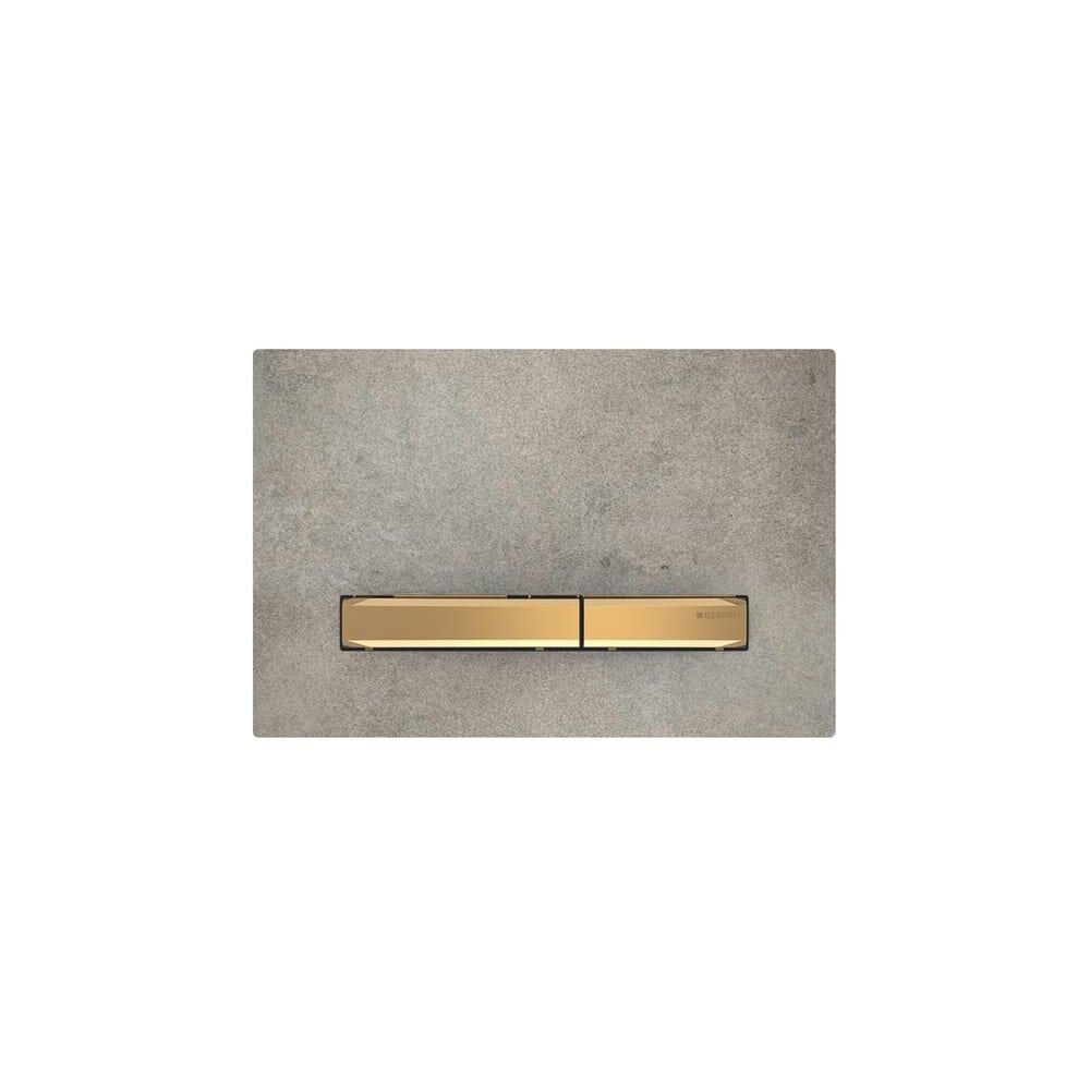 Clapeta de actionare Geberit Sigma 50 aspect beton/butoane aurii imagine
