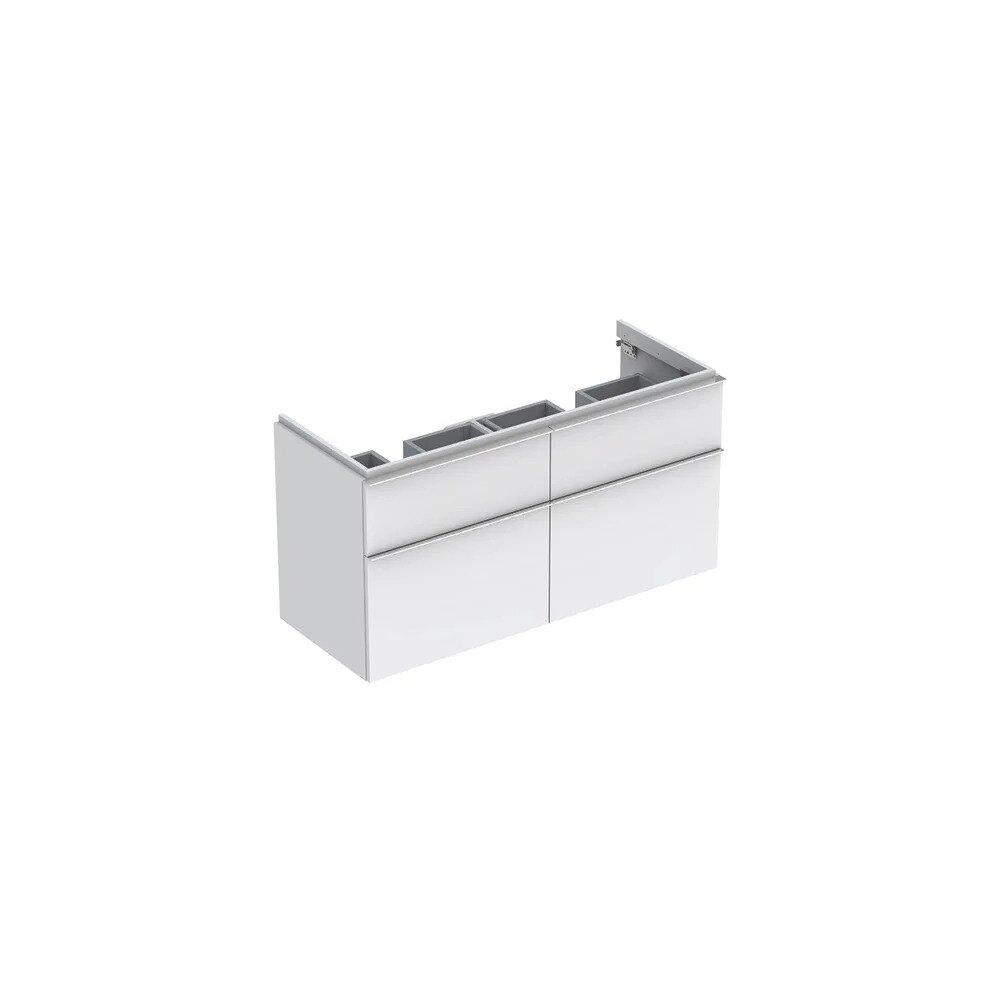 Dulap baza pentru lavoar dublu suspendat alb mat Geberit Icon 4 sertare 119 cm imagine