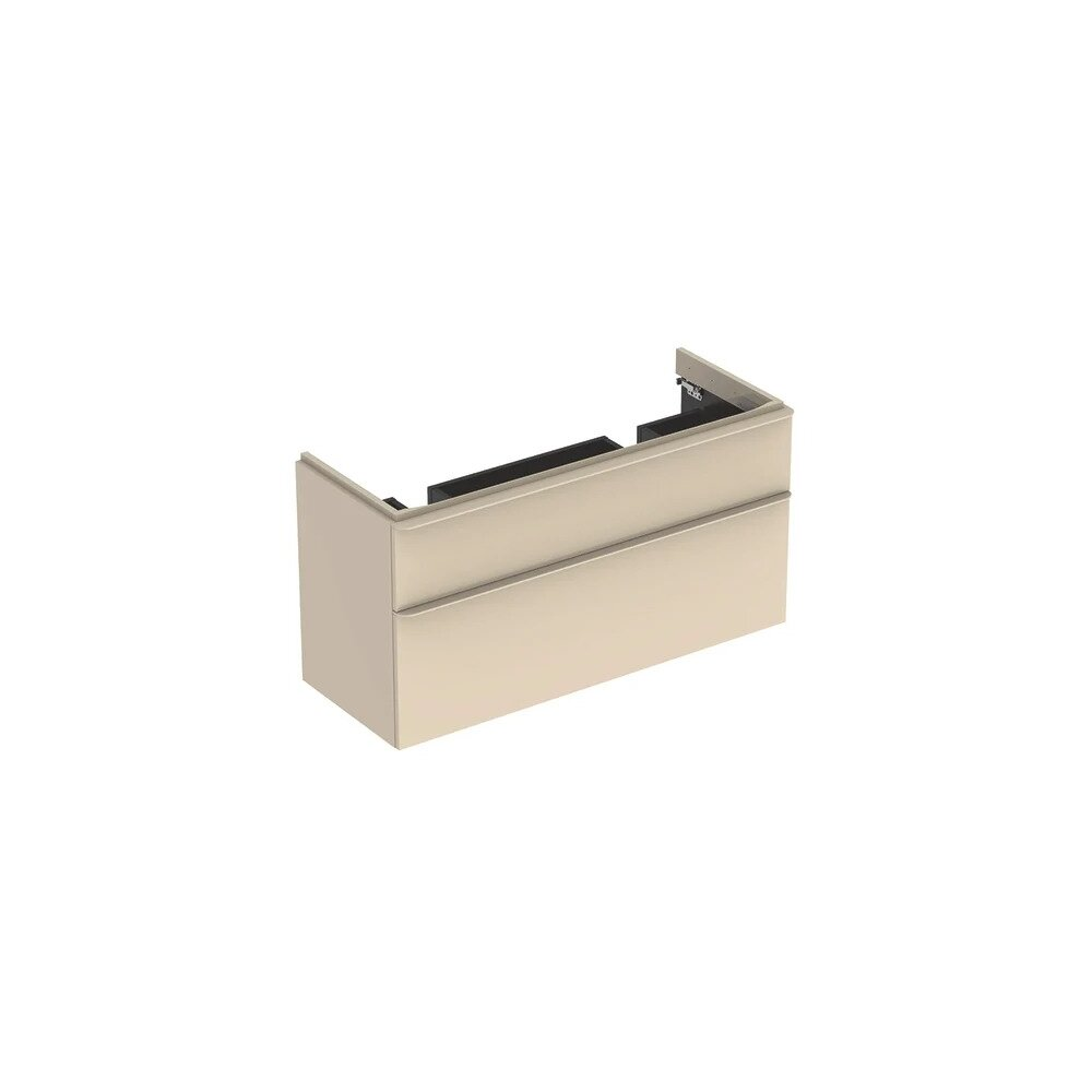 Dulap baza pentru lavoar dublu suspendat Geberit Smyle Square gri nisip 2 sertare 119 cm