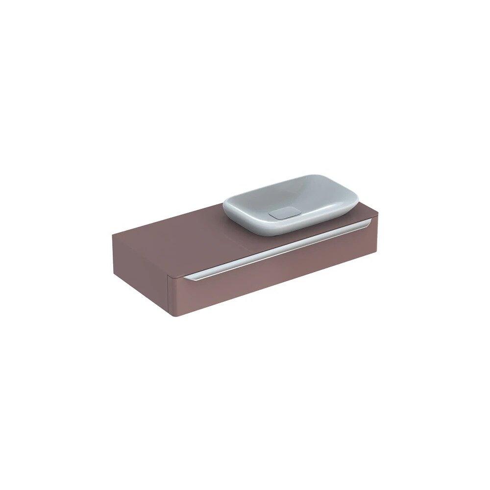 Dulap baza pentru lavoar incorporat stanga suspendat taupe Geberit Myday 1 sertar 115 cm